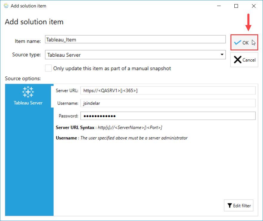 DOC xPress Add Solution Item Tableau Server select Ok