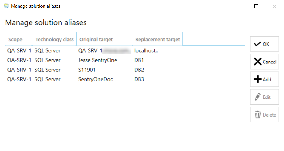 DOC xPress Manage solution aliases window