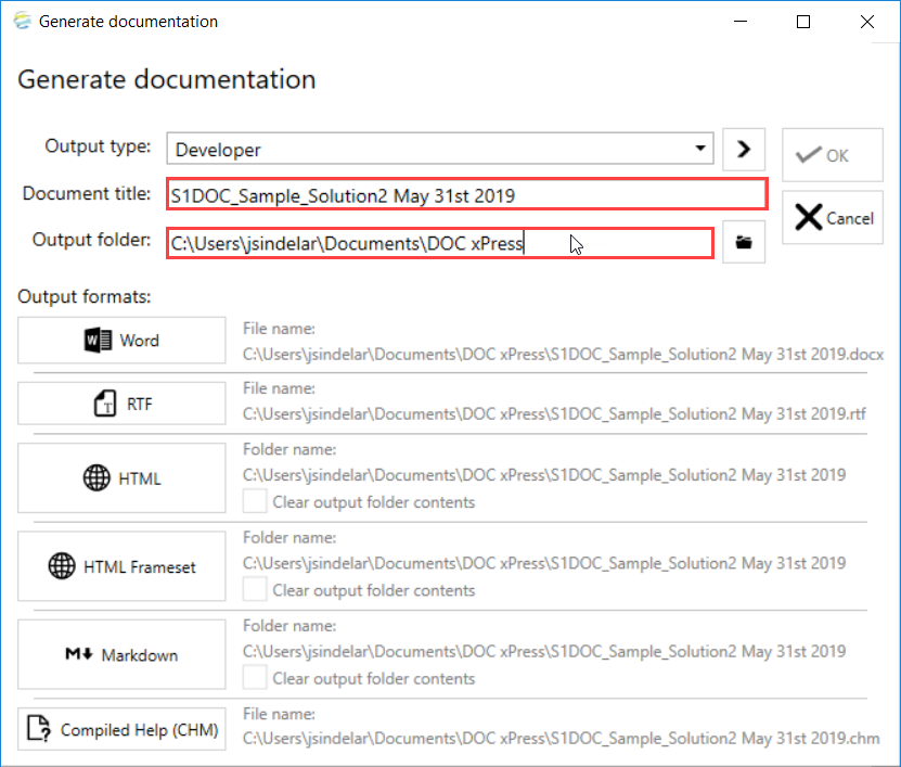 DOC xPress Generate documentation window Document title for request file
