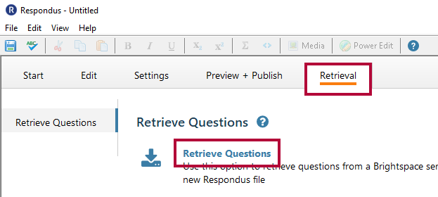 Identifies the Retrieval tab and the Retrieve Questions link..