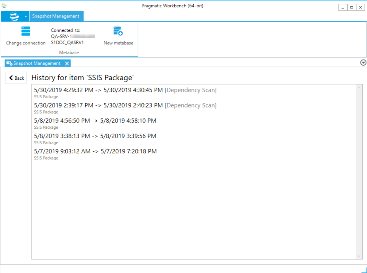 DOC xPress Snapshot Management History for Solution item