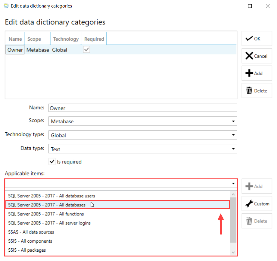 DOC xPress Edit data dictionary categories select Applicable item