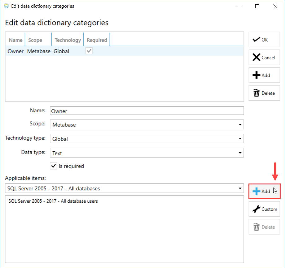 DOC xPress Edit data dictionary categories Add Applicable item