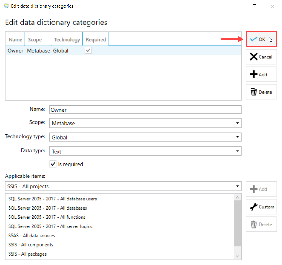DOC xPress Edit data dictionary categories select Ok