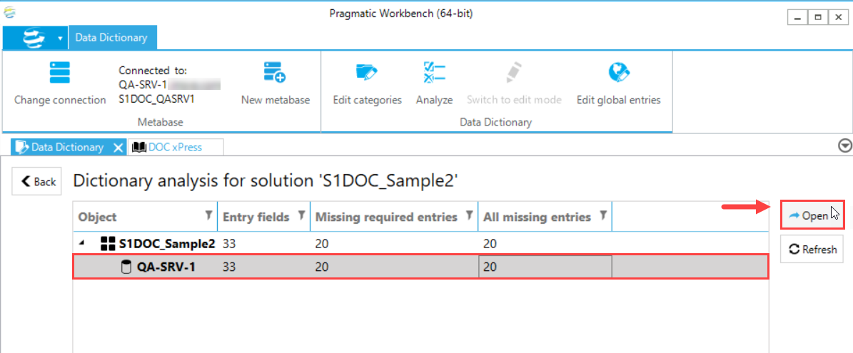 DOC xPress Data Dictionary analysis Open solution item