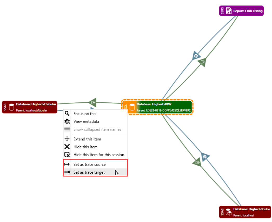 DOC xPress Lineage Analysis Visual View Set as trace target
