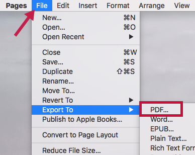 Indicates PDF menu item