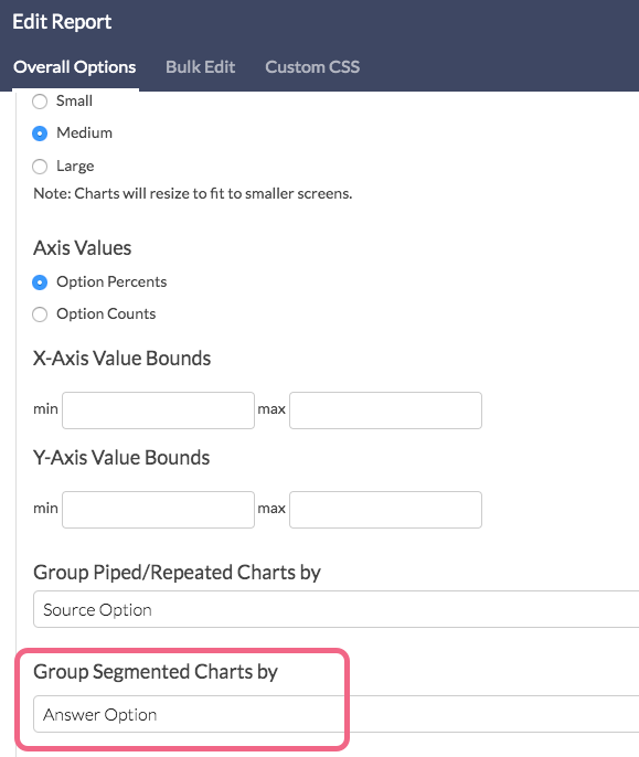Report Setting: Group Segmented Charts by Answer Option