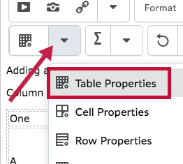 Indicates Table Properties