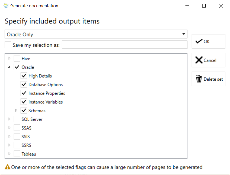 DOC xPress Generate documentation Specify included output items added output example