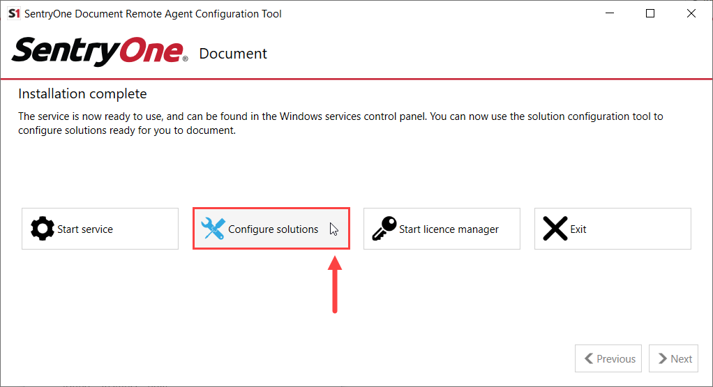 SentryOne Document Remote Agent Configuration Tool Configure solutions