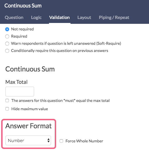 Continuous Sum Answer Format