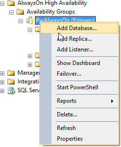 BI xPress AlwaysOn Add Database