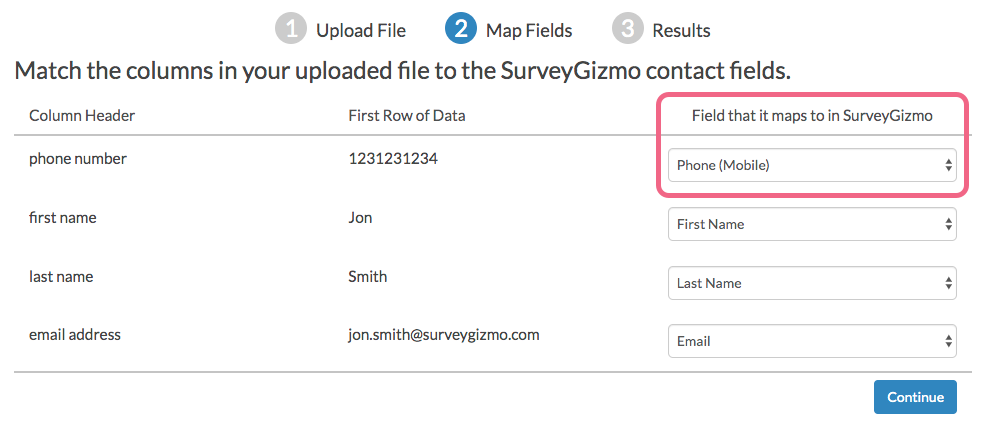 Map Contact Fields