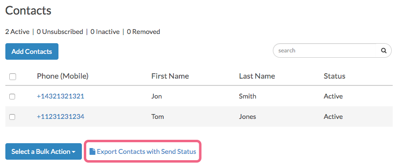 Export Contacts With Send Status
