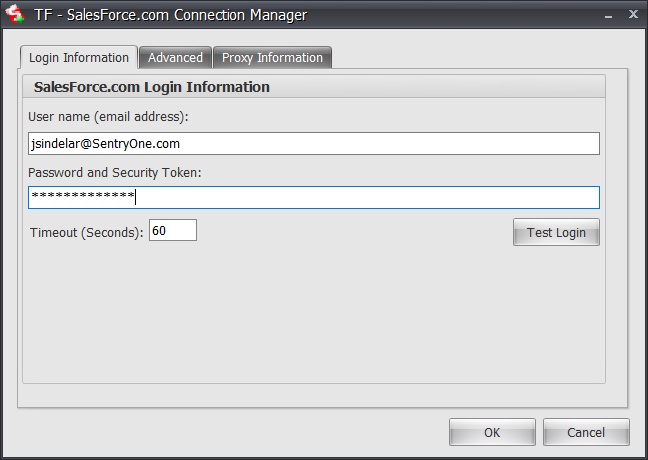 Task Factory SalesForce.com Connection Manager Login Information tab
