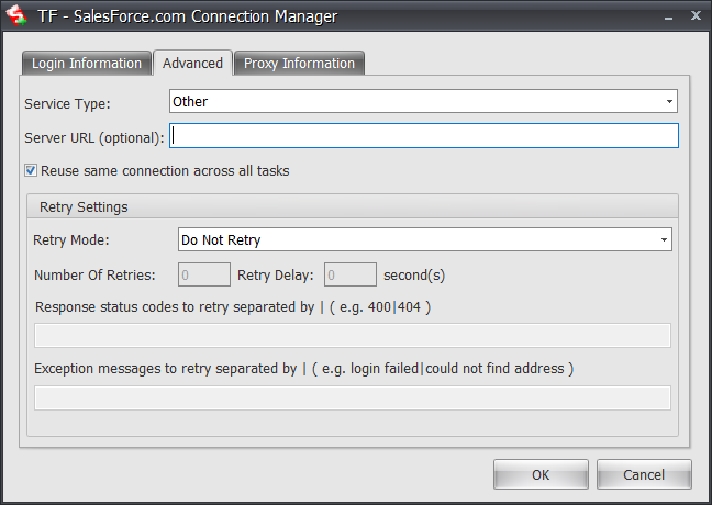 Task Factory SalesForce.com Connection Manager Advanced tab