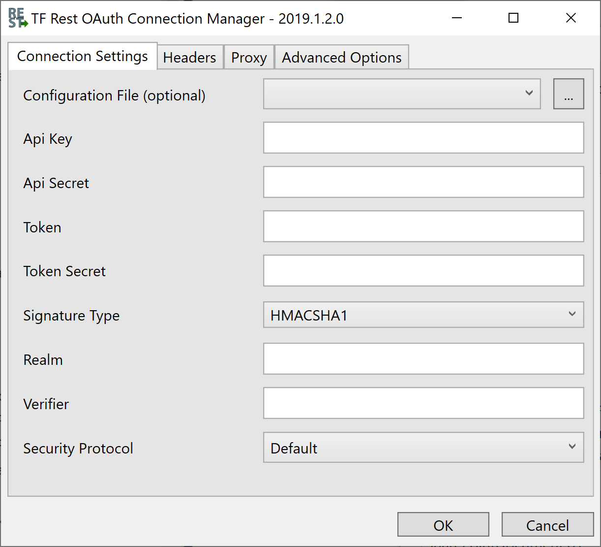 Task Factory Rest OAuth Connection Manager Connection Settings tab