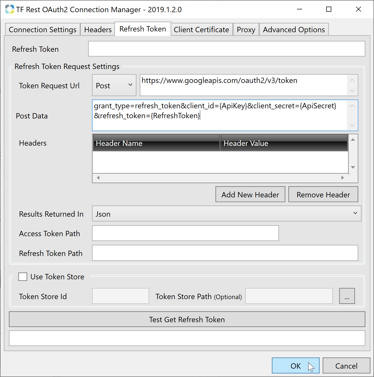 Task Factory Rest OAuth2 Connection Manager populated