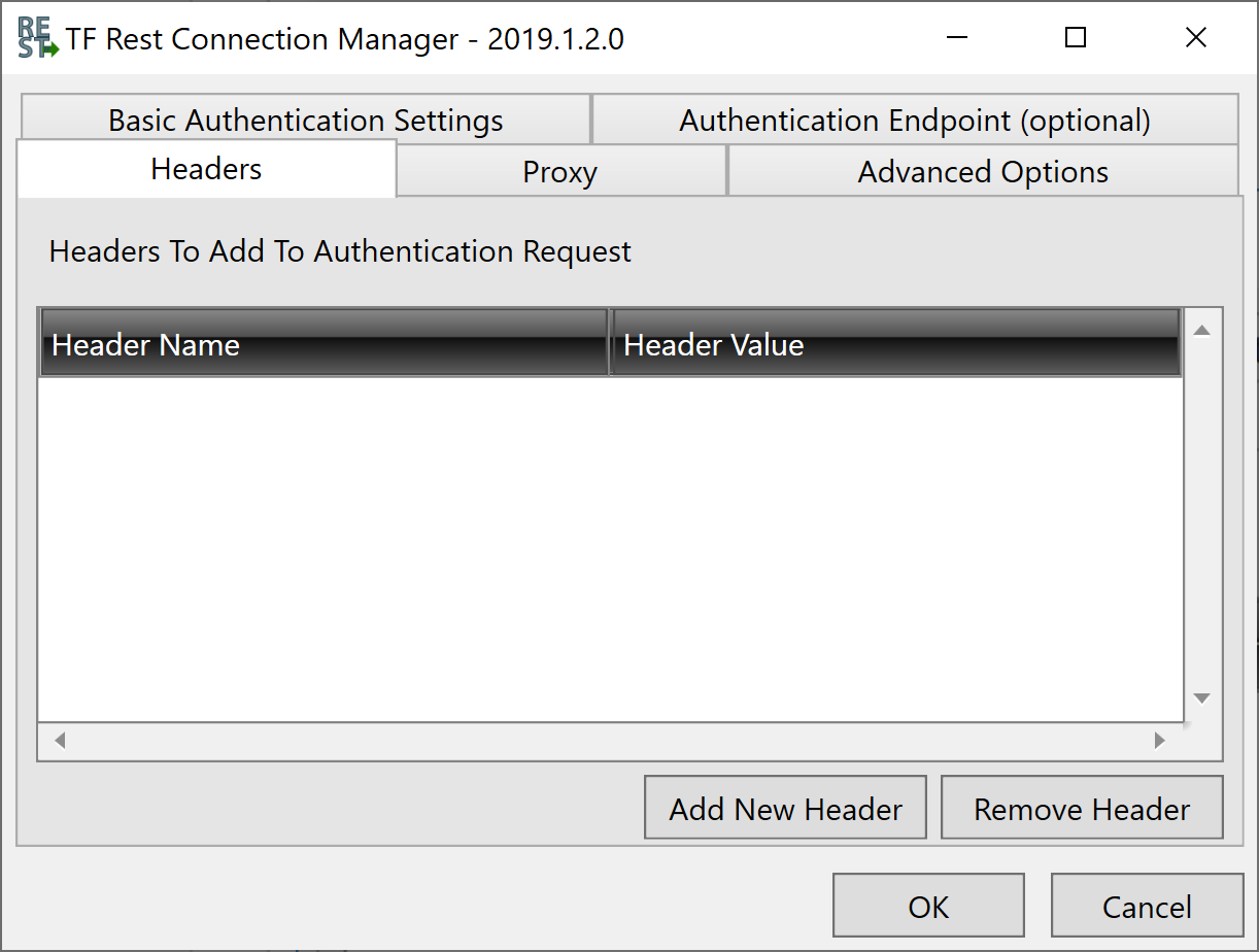 Task Factory Rest Connection Manager Headers tab