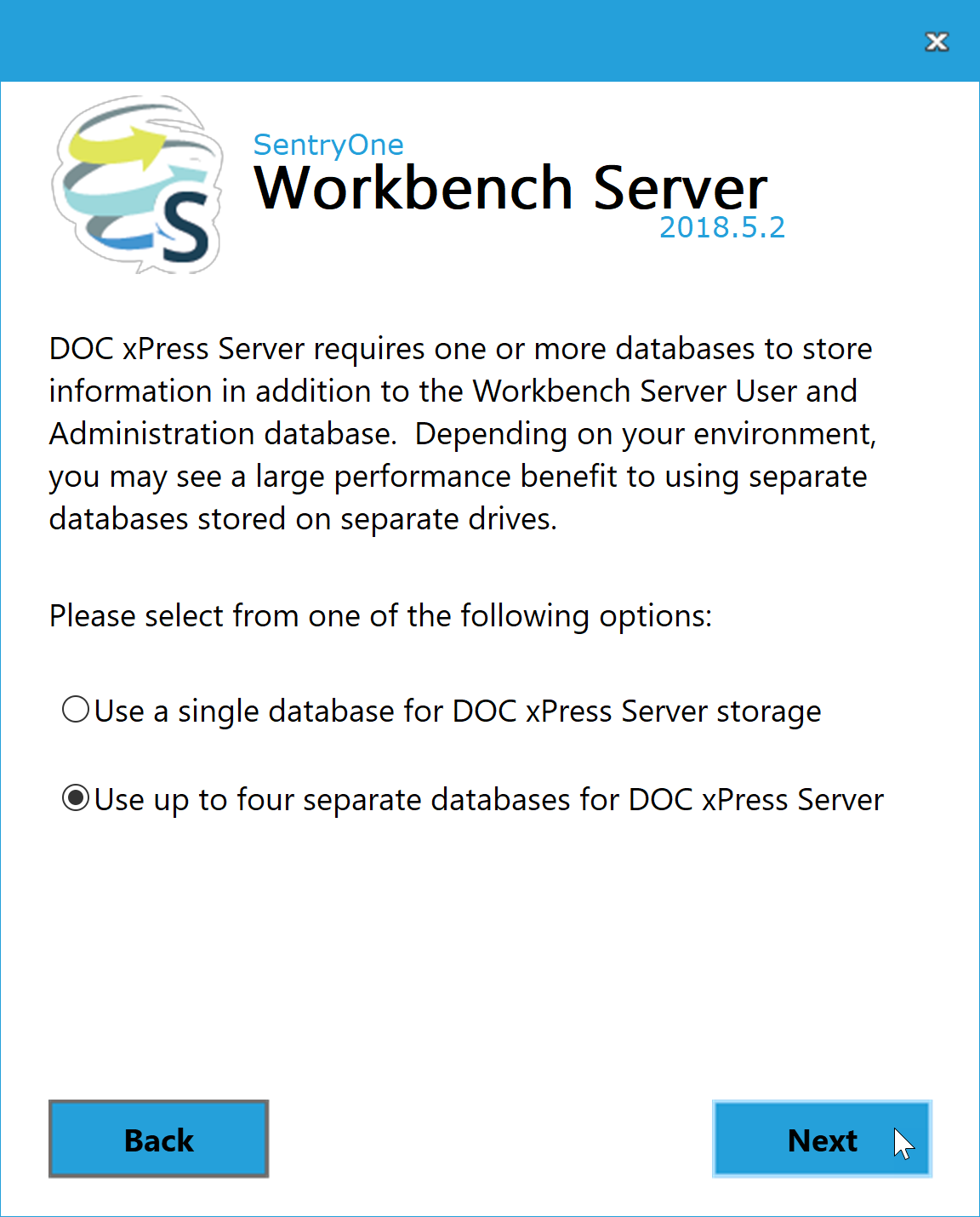 Workbench Server Use up to four databases