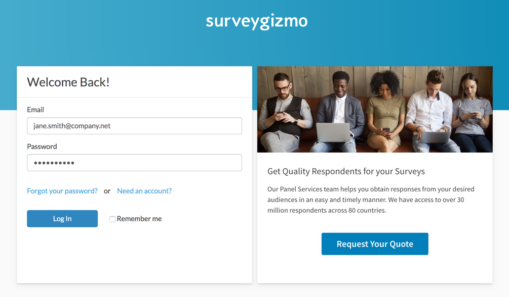SurveyGizmo Login Page