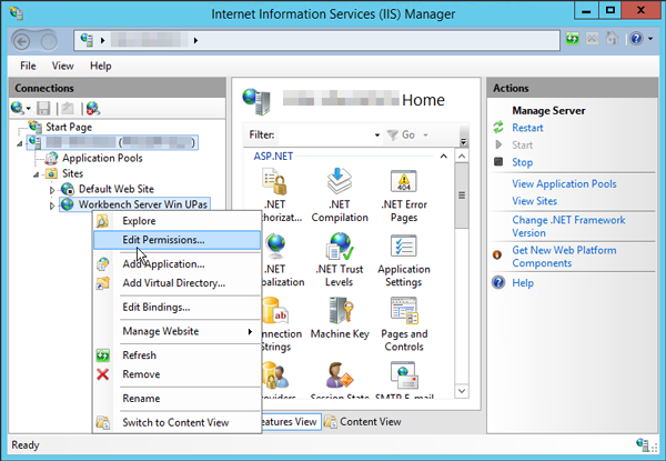 Workbench Server IIS Manager Edit Permissions