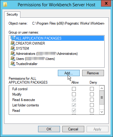 Permissions for Workbench Server Host Security select Add