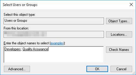 Select Users of Groups window Workbench Security