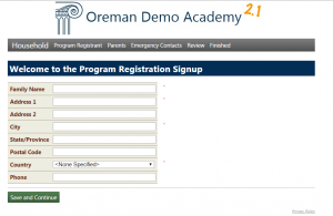 program registration webform