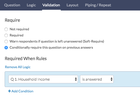 Conditionally Require a Question