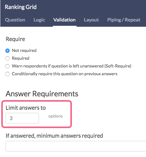 Limit Answers To Setting
