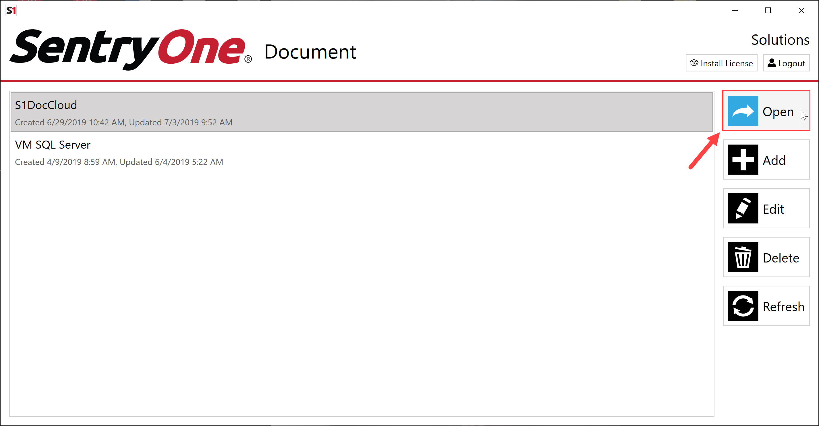 SentryOne Document Solution Configuration Tool Open Solution