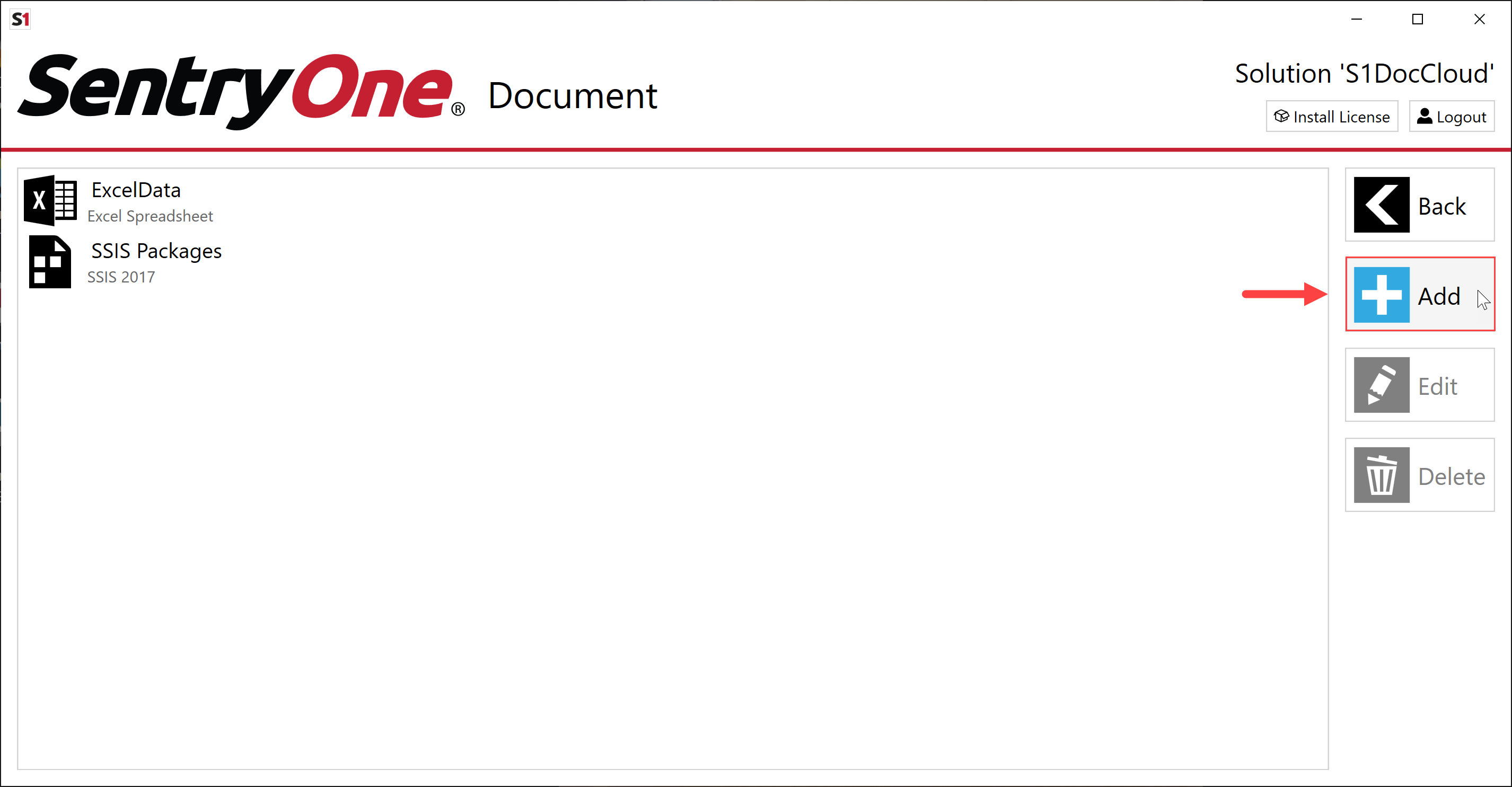 SentryOne Document Solution Configuration Tool Add Solution Item