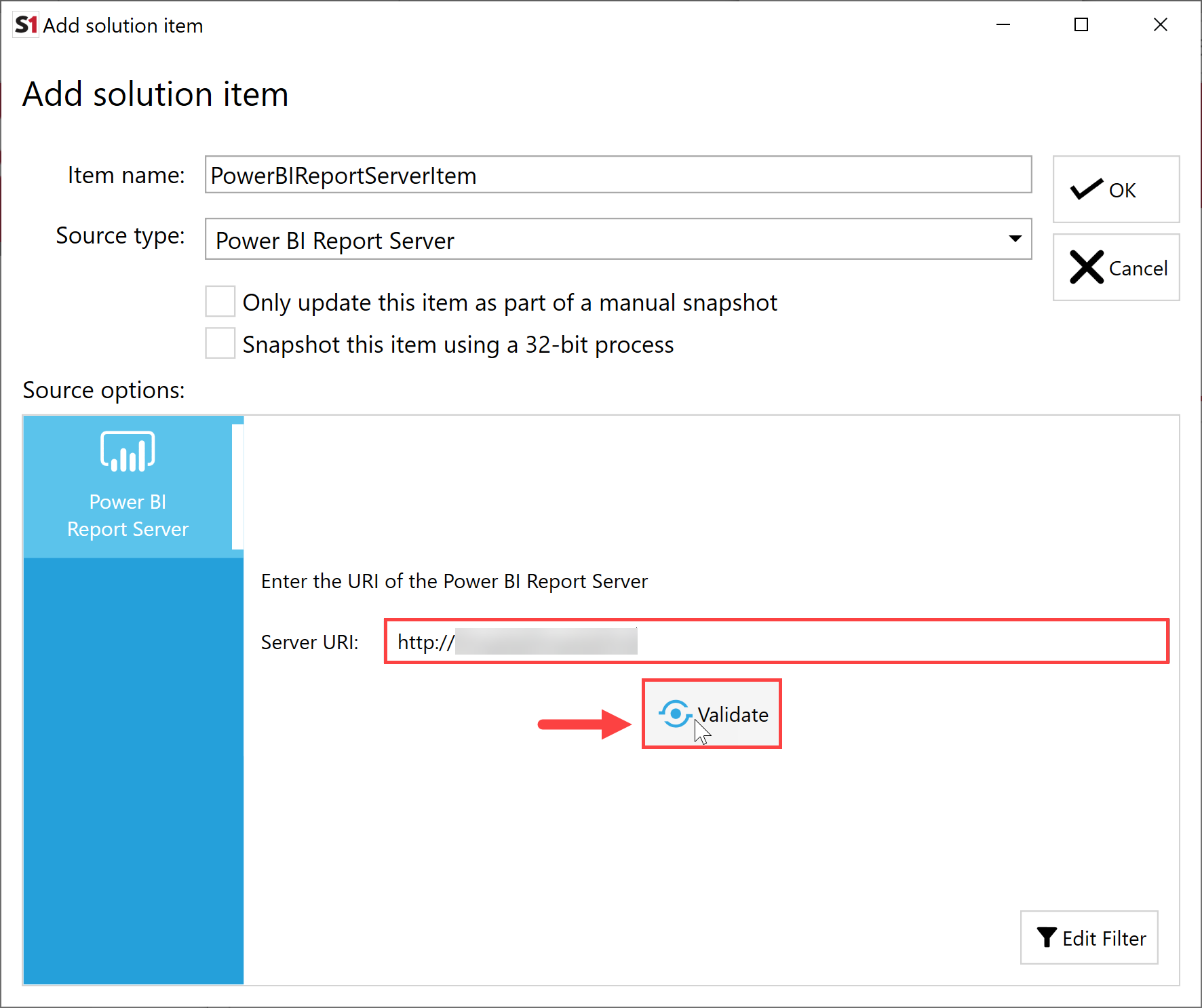 SentryOne Document Add Solution Item Power BI Report Server Validate Connection