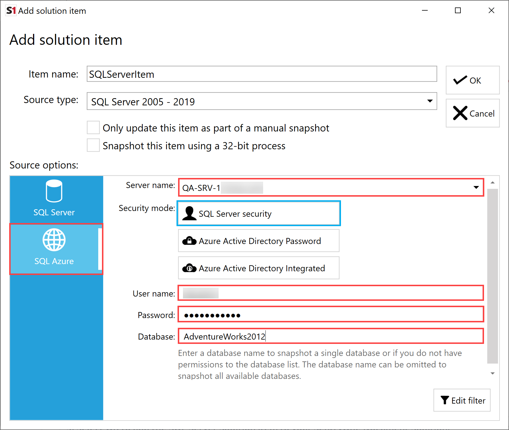 SentryOne Document Add Solution Item SQL Azure credentials