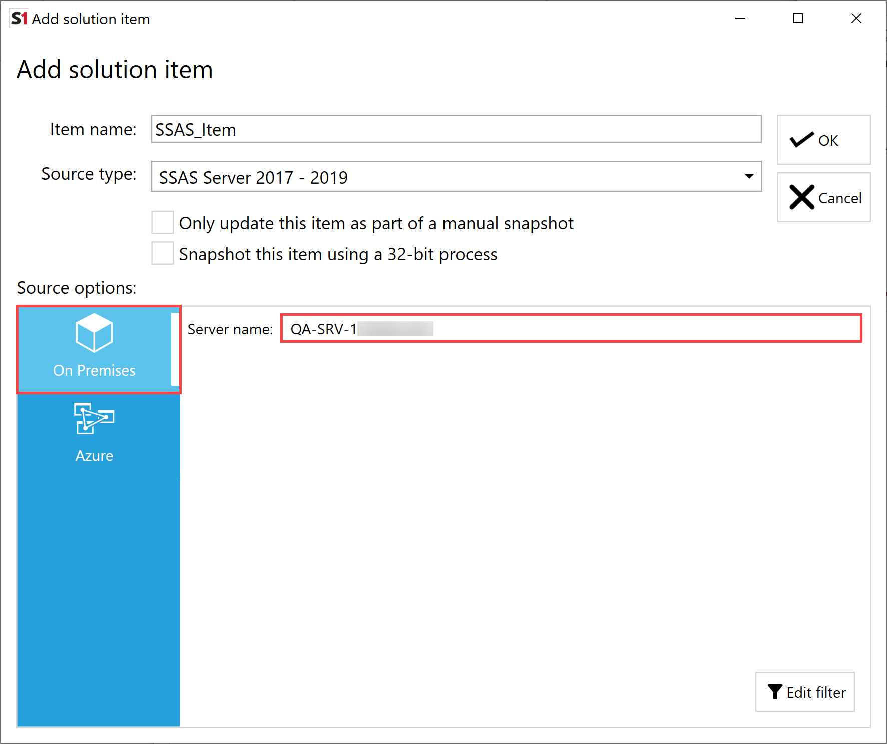 SentryOne Document Add Solution Item SSAS On Premises