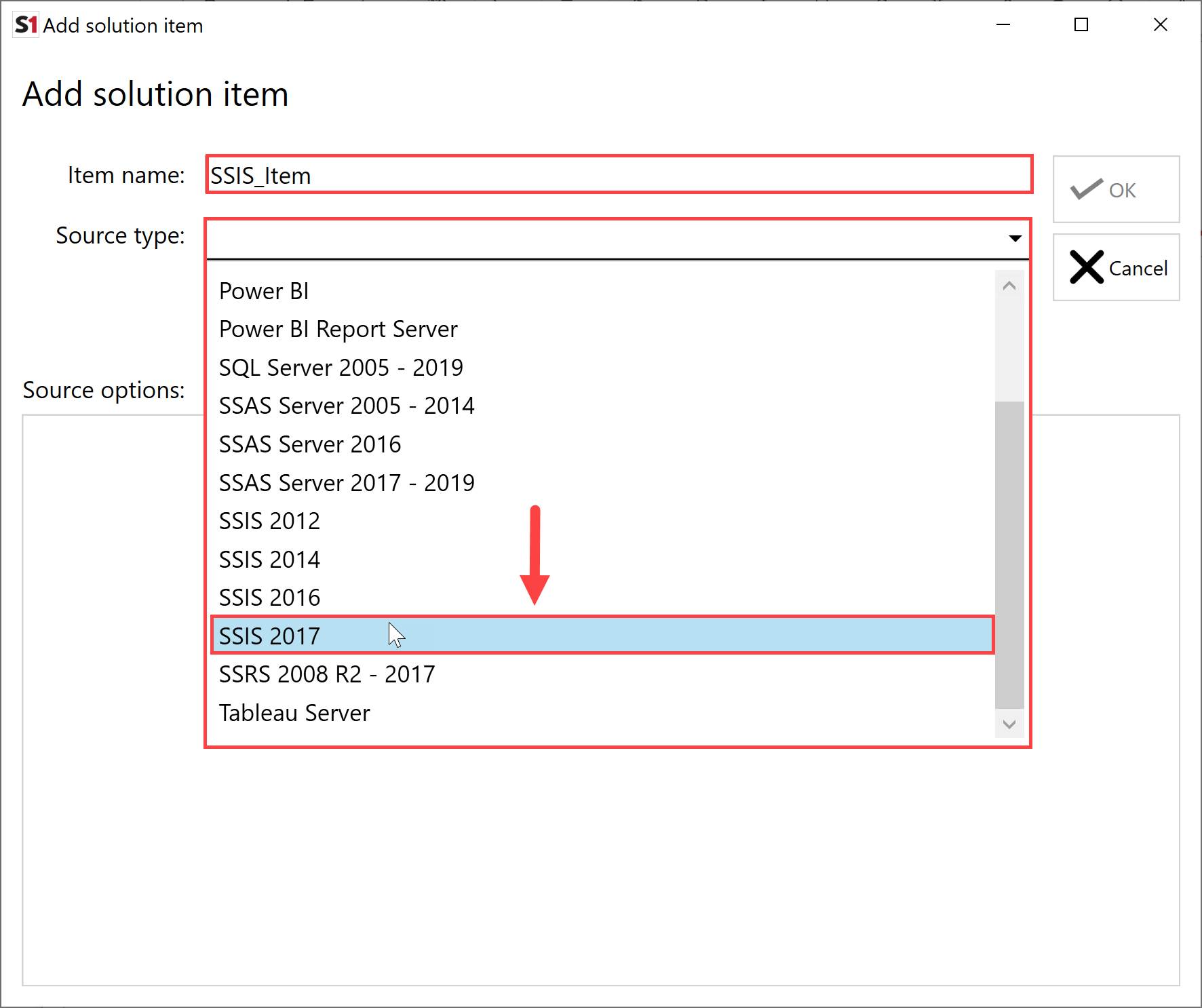 SentryOne Document Add Solution Item SSIS 2017