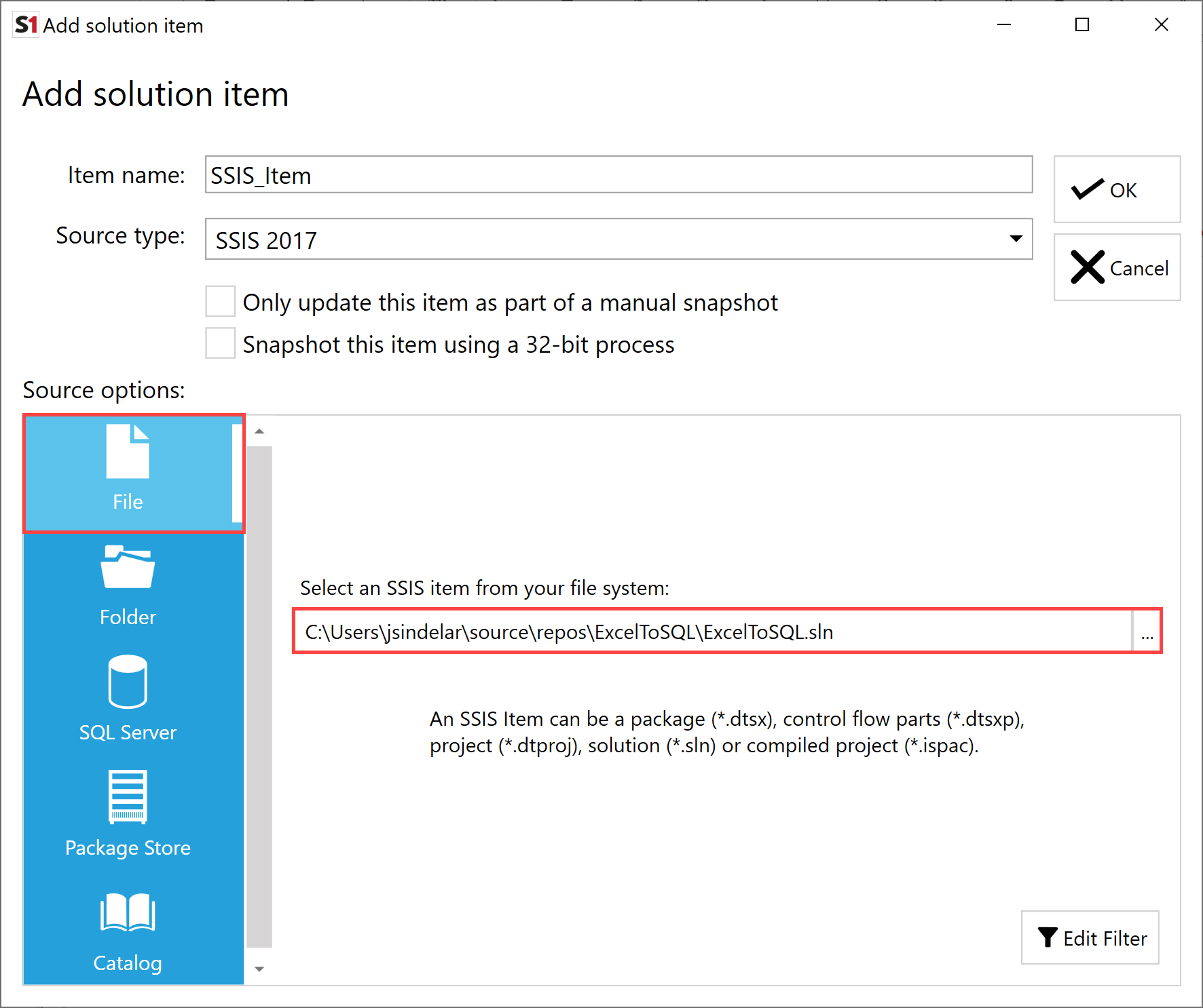 SentryOne Document Add Solution Item SSIS File