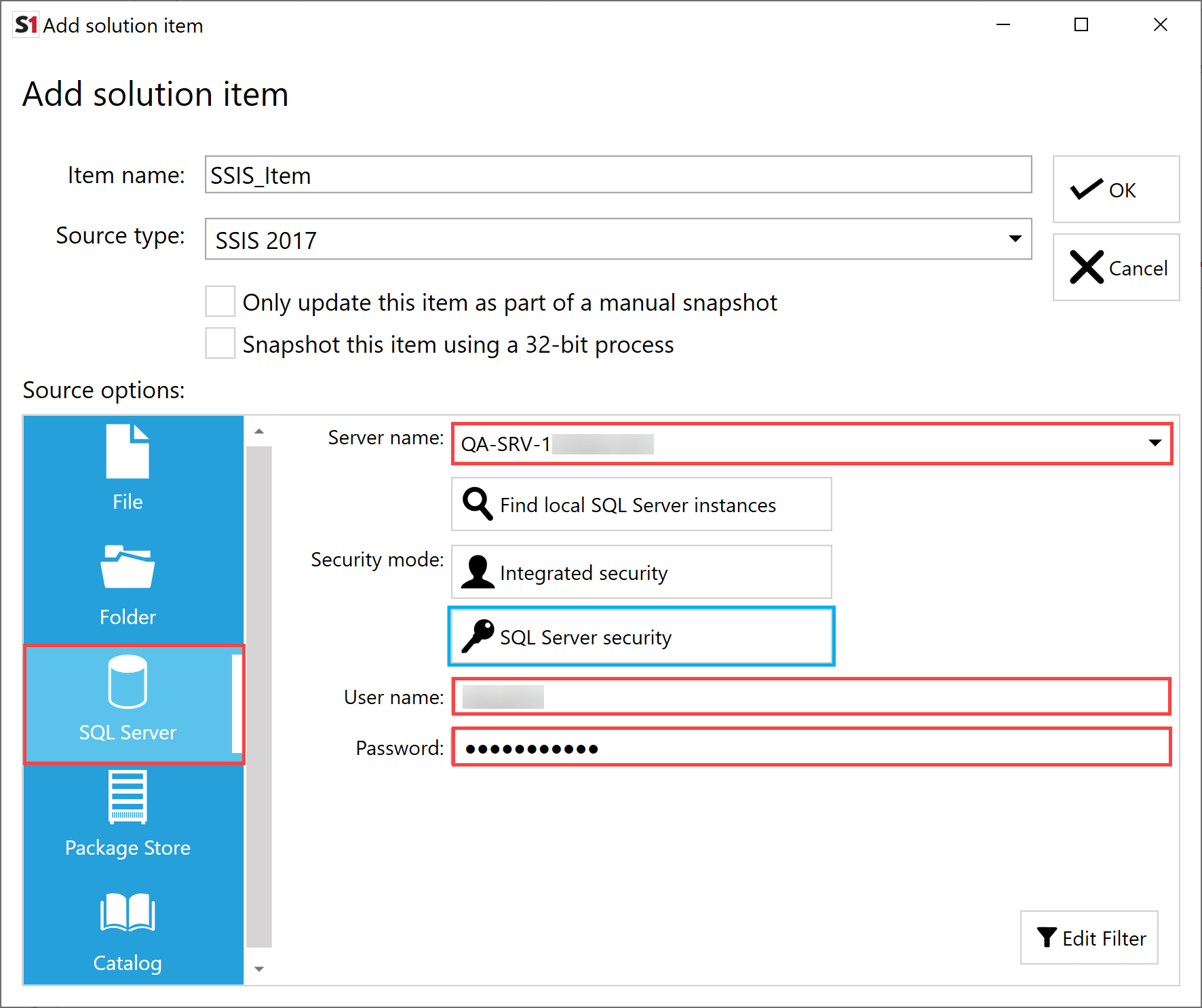 SentryOne Document Add Solution Item SSIS SQL Server