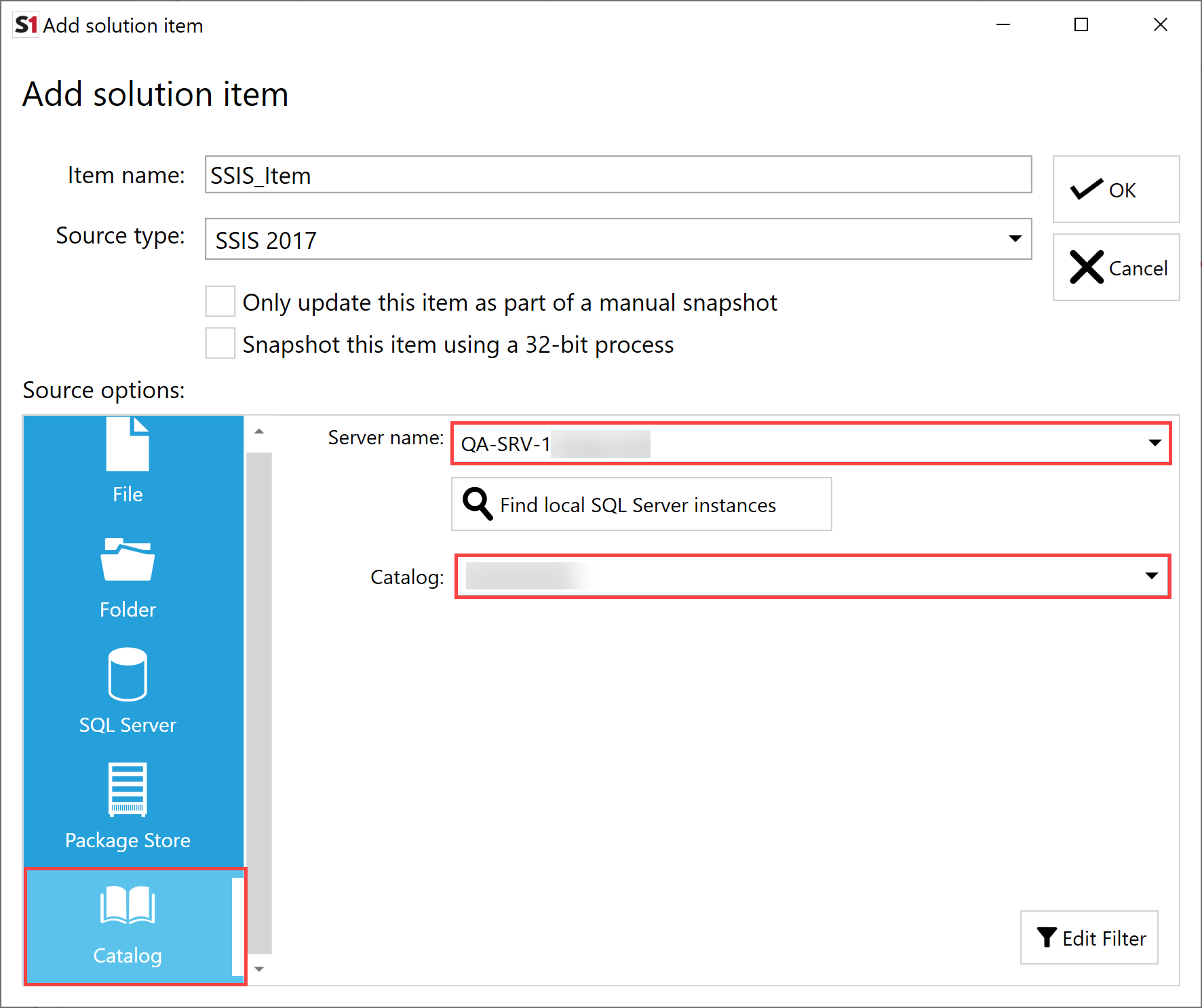 SentryOne Document Add Solution Item SSIS Catalog