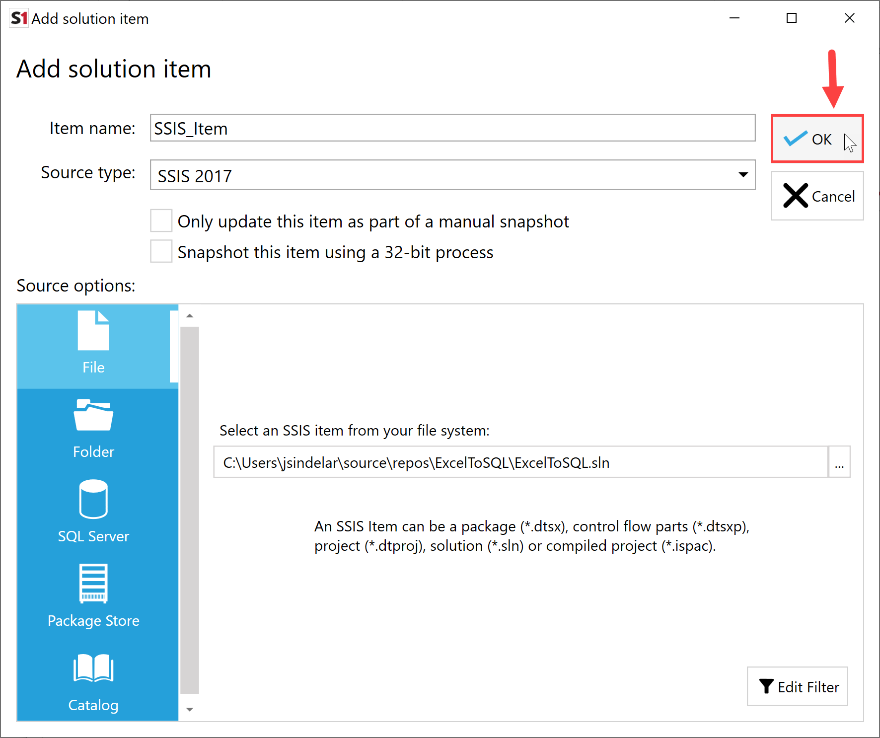 SentryOne Document Add Solution Item SSIS select Ok