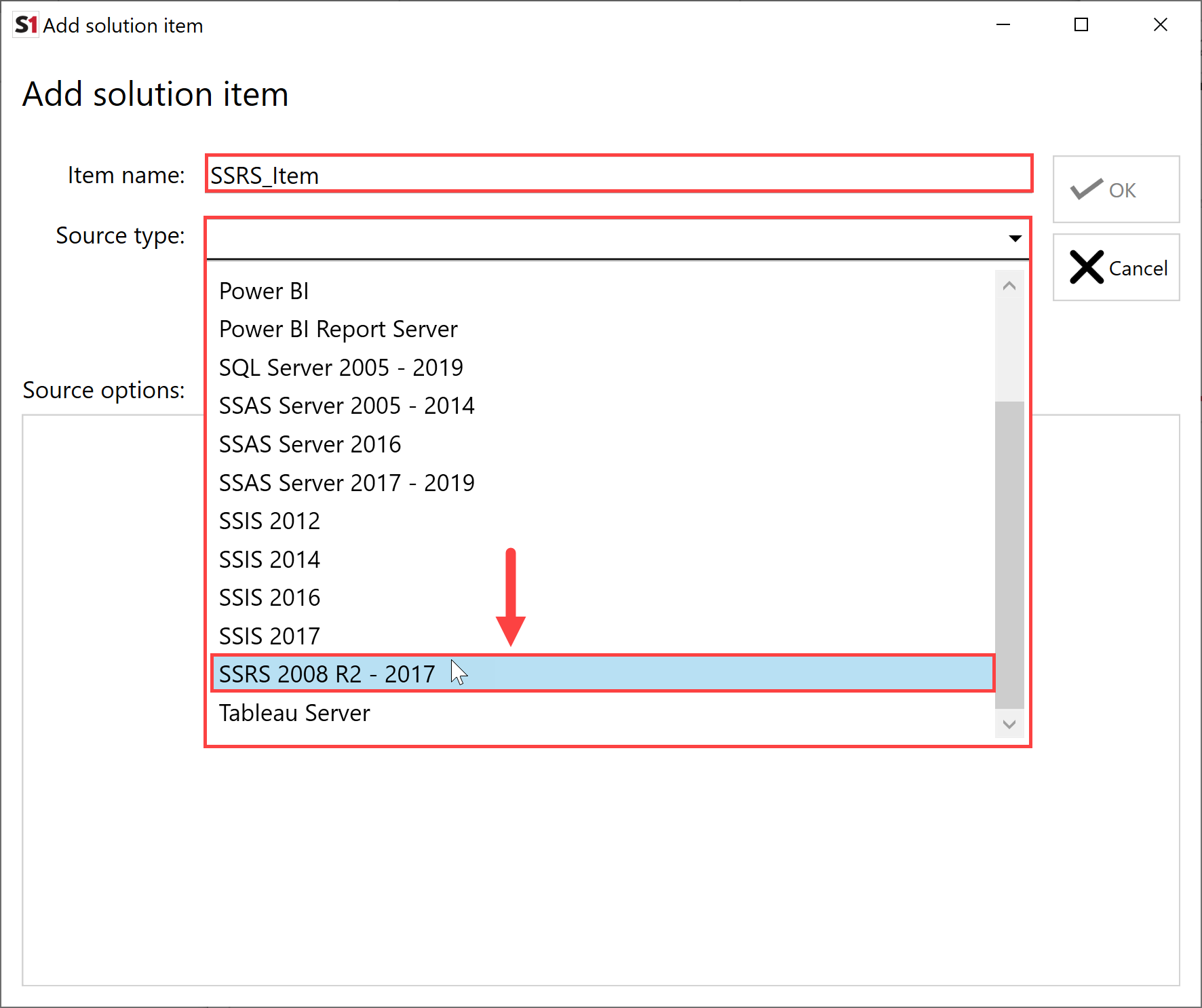 SentryOne Document Add Solution Item SSRS 2008 R2-2017