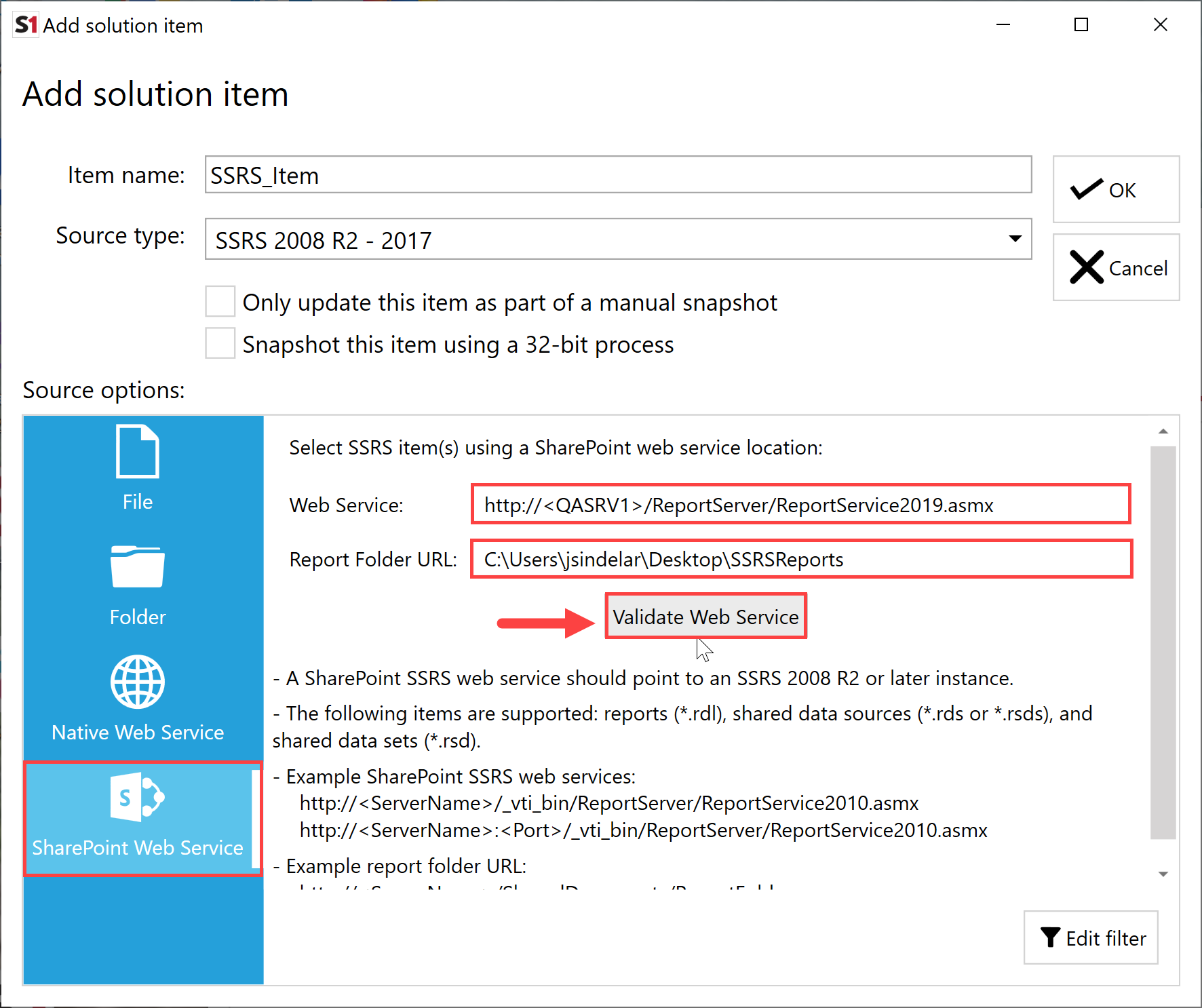 SentryOne Document Add Solution Item SSRS SharePoint Web Service