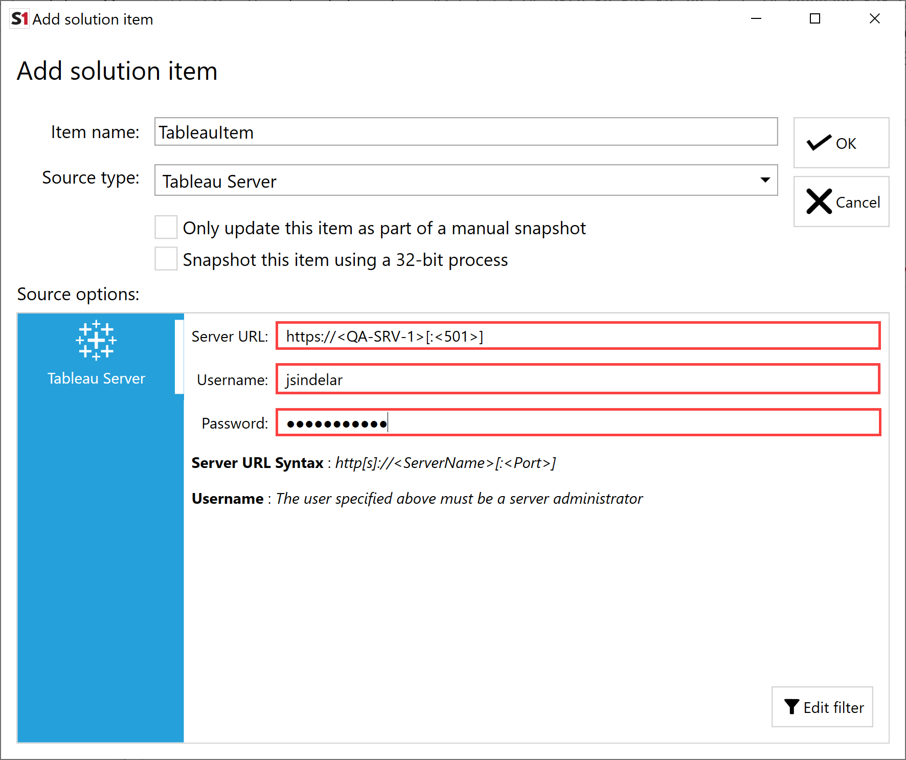 SentryOne Document Add Solution Item Tableau Server credentials