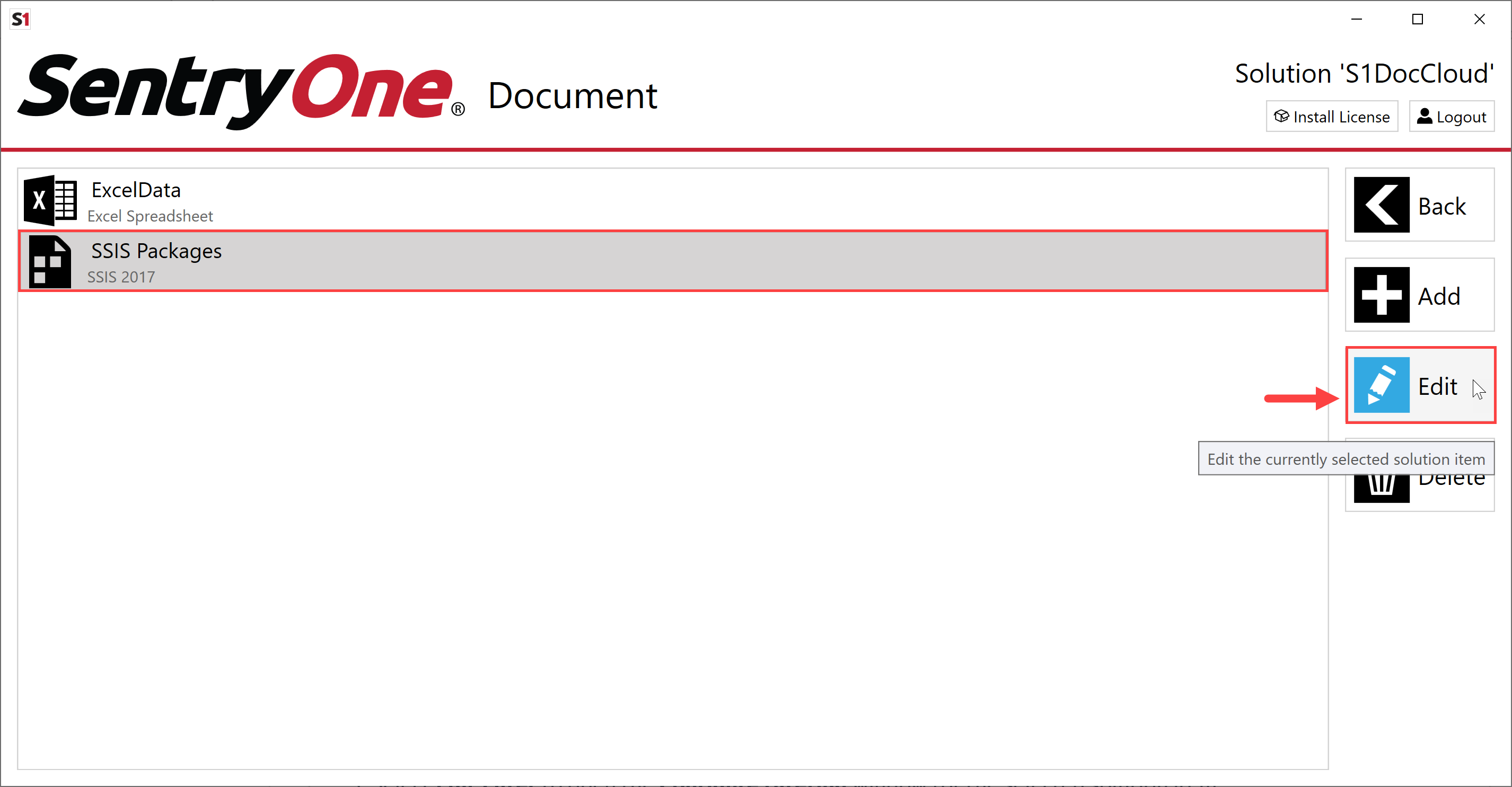SentryOne Document SentryOne Document Edit Solution item