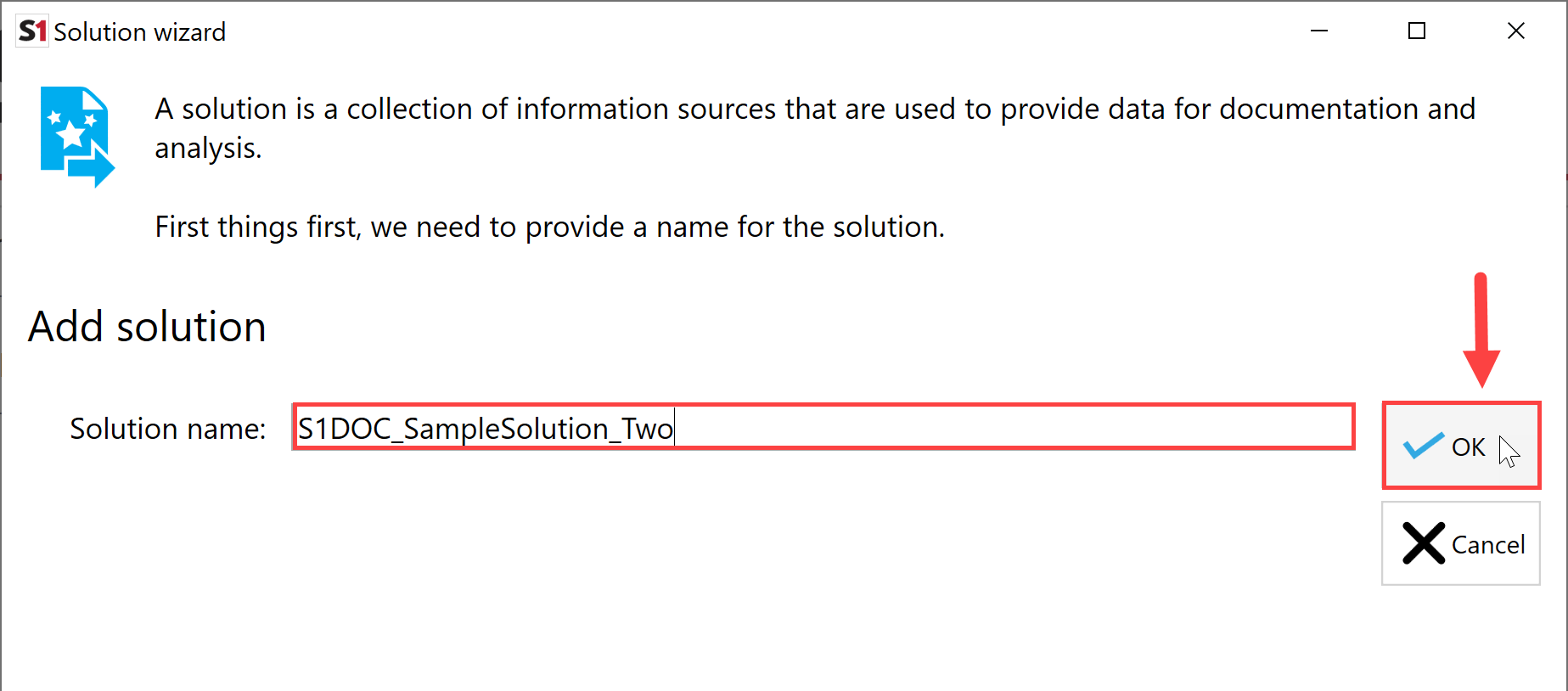 SentryOne Document Solution Configuration Tool select Ok to Add Solution