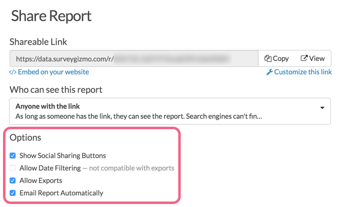 Other Report Sharing Options
