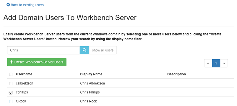 Workbench Server Add Domain users