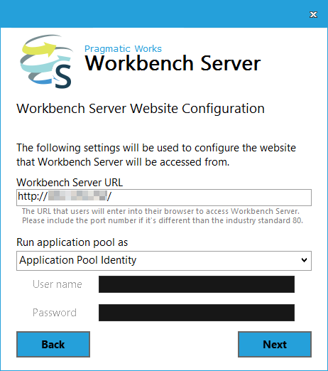 Workbench Server Website Configuration